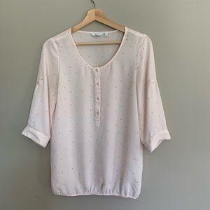Soft pink with small black polka dots shirt